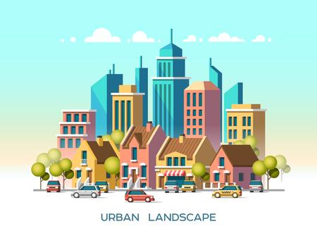communication cartoon: Modern city view. Traditional architecture landscape. Flat illustration. 3d style