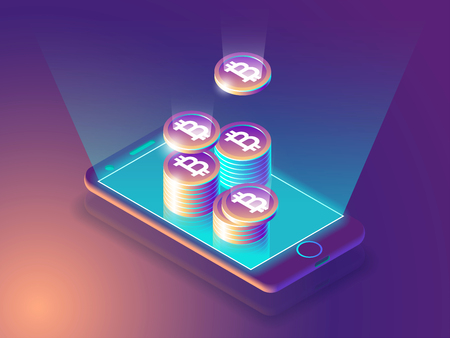smartphone icon: Bitcoin online currency payment and wallet concept. Smart phone screen with money. 3d vector illustration.