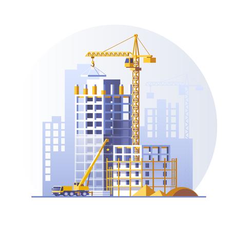 Construcción de edificios residenciales. Diseño de concepto de sitio de construcción. Ilustración de vector de estilo plano.