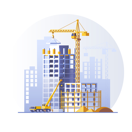 Construction of residential buildings. Construction site concept design. Flat style vector illustration.