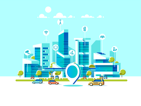 Smart city flat. Cityscape background with different icon and elements. Иллюстрация
