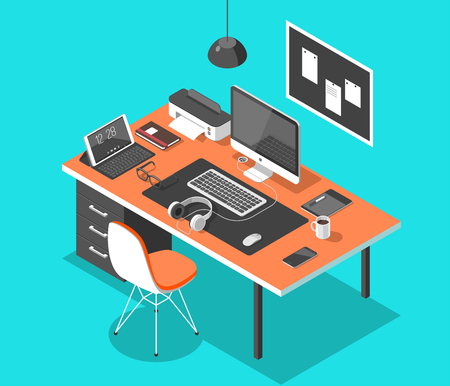 e business: Flat isometric 3d technology workspace concept vector. Laptop, smart phone, tablet, player, desktop computer, headphones, devices set.