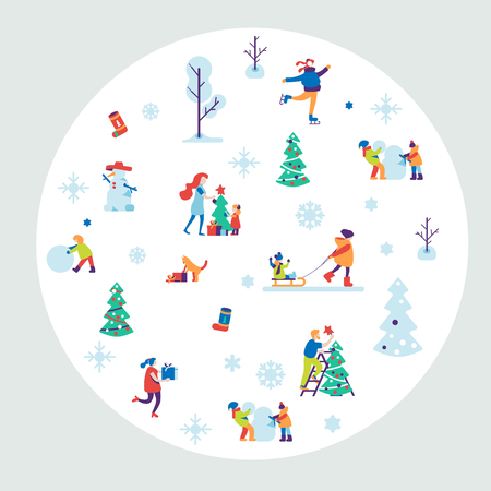 Merry Christmas background with winter outdoor leisure activities, people making a snowman, playing in snow, shopping, decorating christmass tree, ice skating, etc. Flat vector illustration.