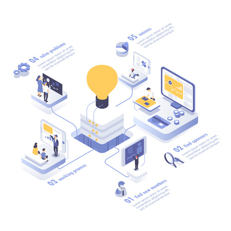 People working in a team and achieving the goal. Startup concept. Launch a new product on a market. Isometric vector illustration. Imagens - 90273279