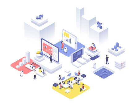 People working in a team and achieving the goal. Startup concept. Launch a new product on a market. Isometric vector illustration.