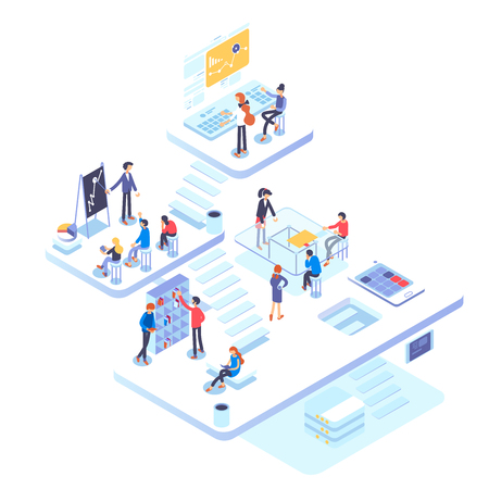 People work in a team and achieve the goal. Startup concept. Launch new product on a market. Isometric illustration. Иллюстрация