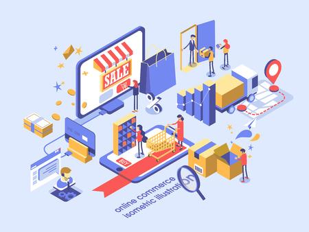 Elektronische handel online concept isometrische illustratie.