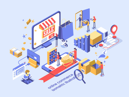 Ilustracja izometryczna koncepcji handlu elektronicznego online.