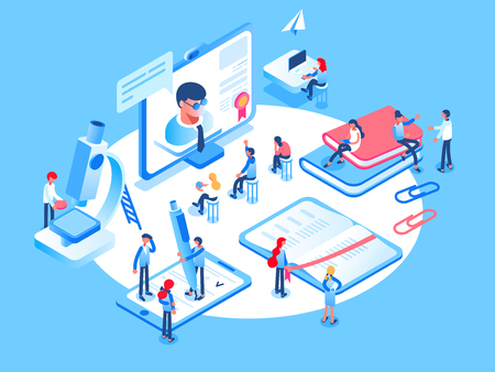 Online education concept. Online training courses, specialization, university studies. 3d isometric people. Stock Photo - 91011916