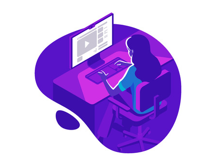 A girl working on the computer in the evening on the dark background. Isometric vector illustration.