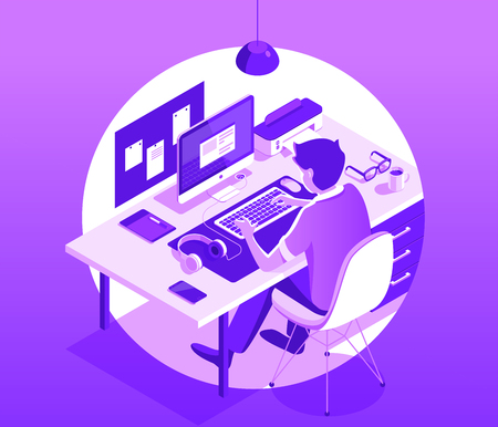A man working on the computer. Workspace concept. Isometric 3d vector illustration. Banque d'images