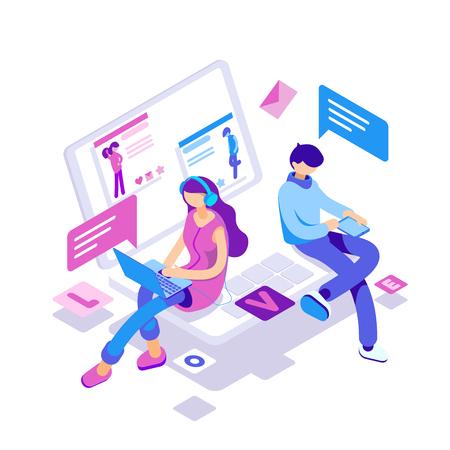 仮想関係、オンラインデートやソーシャルネットワーキングの概念 - インターネット上でチャットティーンエイジャー。