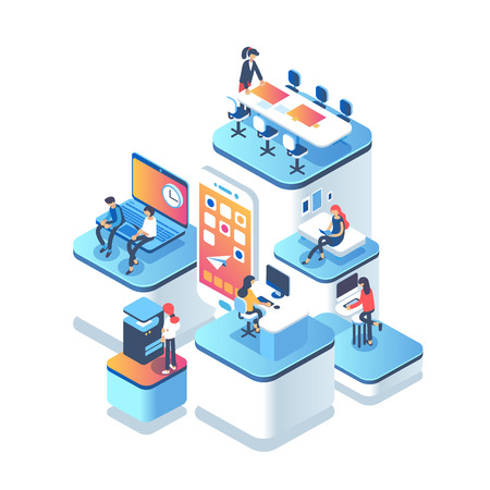 People work in a team and achieve the goal. Startup concept. Launch new product on a market. Isometric illustration. Vectores