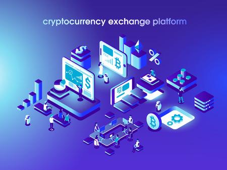 Cryptocurrency et blockchain composition isométrique avec des personnes, des analystes et des gestionnaires travaillant sur le démarrage de crypto. Illustration vectorielle isométrique.