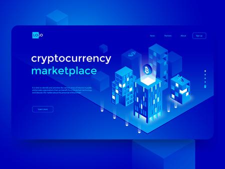 Composition isométrique de crypto-monnaie et blockchain avec ville intelligente et infographie abstraite. Illustration vectorielle isométrique.