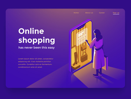 Sale, consumerism and people concept. Young woman with shopping bags pointing finger to smartphone. Landing page template. 3d vector isometric illustration. 일러스트