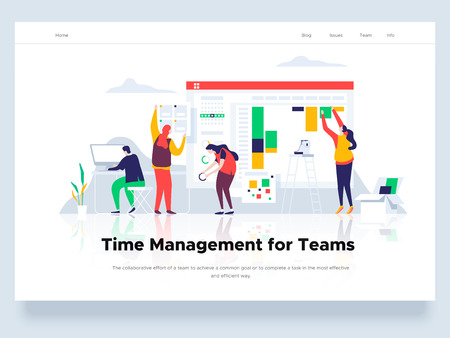 People build a dashboard and interact with graphs. Time management and office situations. Landing page template. Vector illustration.
