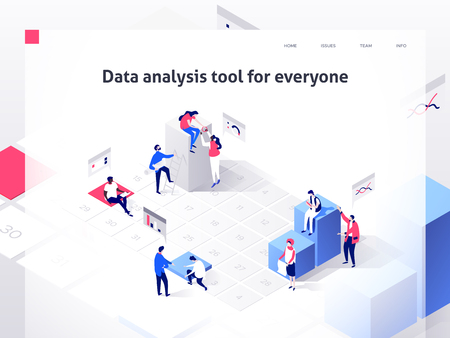 People in a team build a time schedule and interact with graphs. Landing page template. 3d isometric illustration