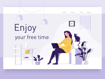 A girl sitting on the sofa works on the laptop. Vector flat illustration. Landing page template