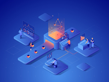 People interacting with charts and analysing statistics. Data visualisation concept. 3d isometric illustration. Illustration