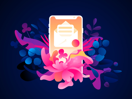 A phone with a newsletter icon on a tropical background. Flat trendy exotic plants and leaves. Vector illustration