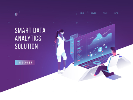 People interacting with charts and analysing statistics. Vurtual augmented reality. Customer tracking software. Data visualisation concept. 3d isometric vector illustration. Фото со стока