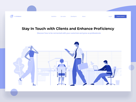People work in a office and interact with devices. Business, workflow management and office situations. Landing page template. Flat vector illustration. Иллюстрация