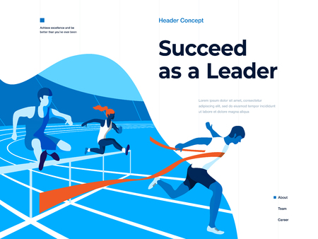 People running on the stadium to win and succeed. Bussines and Leadership. Flat vector illustration. Landing page and header concept Фото со стока