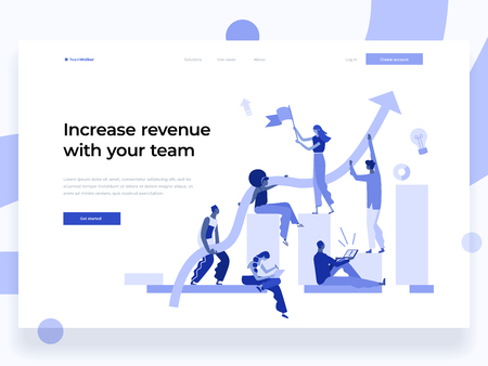 People work in a team and interact with graphs. Business, leadership, workflow management, office situations. Landing page template. Flat vector illustration.