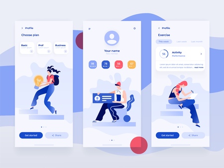People work and interacting with graphs, shapes and devices. Data analysis and office situations. Flat vector illustration. Mobile application template. Фото со стока