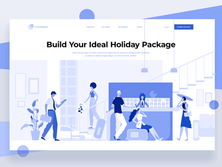 People stay near the registration desk and book a hotel while interacting with devices. Holiday and vacation. Flat vector illustration. Landing page template.