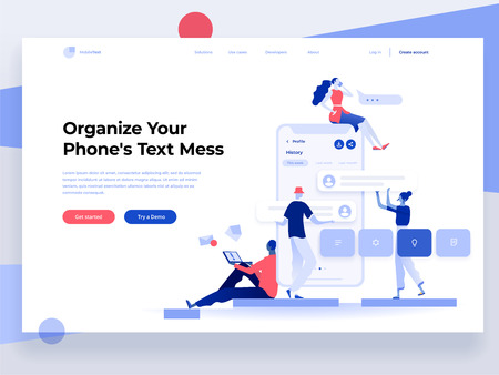 People build a mobile application and interact with parts of the interface. App development. Landing page template. Flat vector illustration Фото со стока