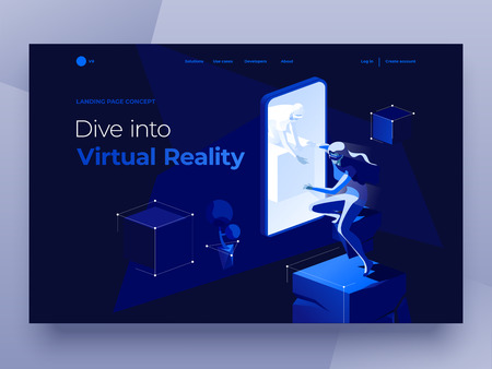 Virtual augmented reality concept with people playing a video game on the dark blue background. A man in a smartphone gives his hand to a woman. Landing page. 3d vector isometric illustration. Фото со стока