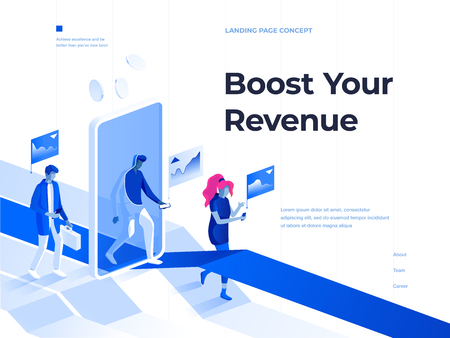 People walk with smartphones and get rewards going through a mobile application screen. Bussines and Success. 3d isometric vector illustration. Landing page and header concept.