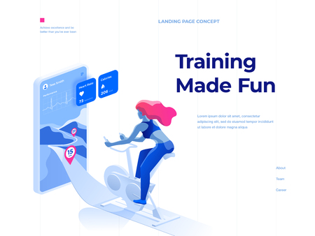 A woman doing a workout on a bike-trainer and using a mobile application to watch out her performance. Sport and recreation. Isometric illustration. Landing page concept.