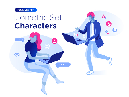 People work and interacting with graphs, icons and devices. Data analysis and office situations. 3D Isometric vector illustration set. Mobile application and website header images on white background.
