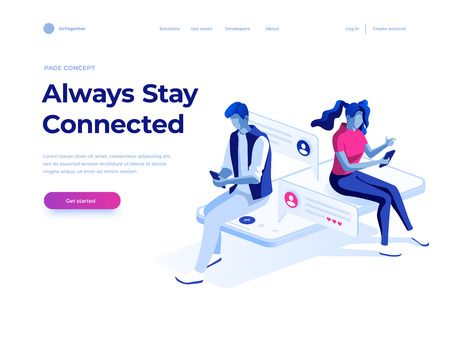 Virtual relationships, online dating and social networking concept - teenagers chatting on the Internet. Vector 3d isometric illustration. Landing page concept Иллюстрация