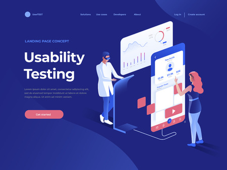 People testing the interface and usability of a mobile application on the dark blue background. 3D Isometric illustration. Landing page concept. Фото со стока