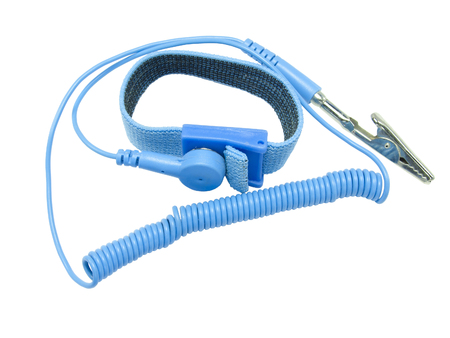 wrist strap: Antistatic wrist strap, ESD wrist strap, or ground bracelet is an antistatic device used to safely ground a person working on very sensitive electronic equipment. Isolated on white background.