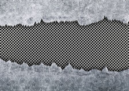 metal sheet: texture torn metal mesh weathered iron as background Stock Photo