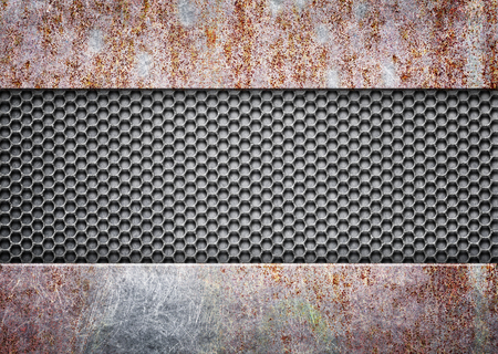 template of metal plates and mesh coated with rust