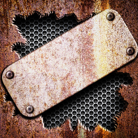 metal plate with rivets and ragged rusty iron