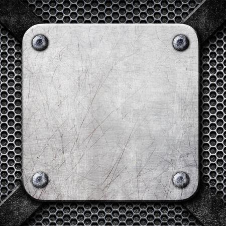 square metal frame, steel plate for background, 3d, illustration