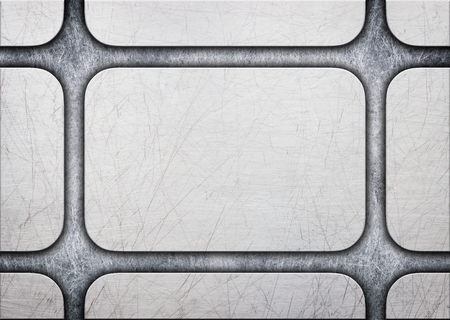alloy: metal plate with rivets over rustic steel background, 3d, illustration