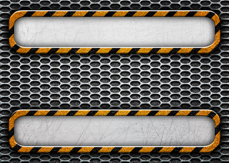 aluminium texture: metal plate with black and yellow stripes, 3d, illustration Stock Photo
