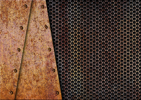 alloy: rusty metal with a mesh texture iron background, 3d, illustration Stock Photo