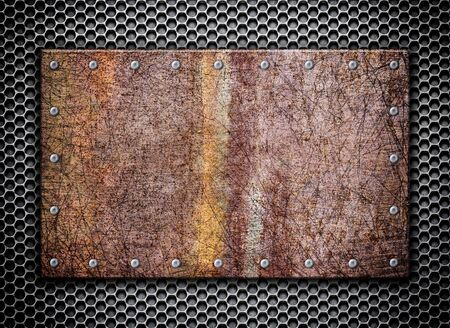 metal mesh: rusty metal background plate on the old grille, 3d, illustration