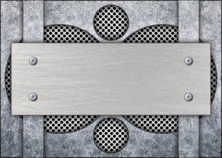 gray metal frame with mesh in the background, texture iron template, 3d, illustration Imagens