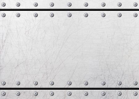 aluminium texture: Steel metal plates with rivets seamless background, 3d, illustration