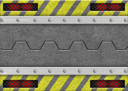 metal sliding door with the warning of danger coloring, 3d, illustration